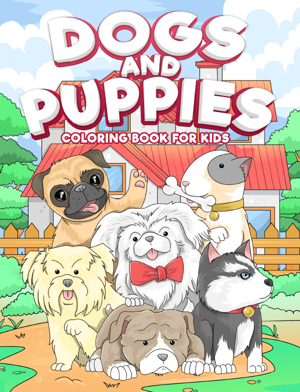 dogs puppies coloring book for kids