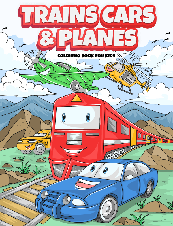 trains cars planes coloring book for kids